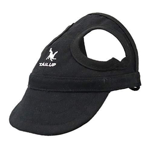 PETSOLA Hund Baseball Mütze Hundekappe Sommer Leinwand Cap Hut für Hunde - Schwarz, S