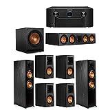 Klipsch 7.1 System with 2 RP-8000F Floorstanding Speakers, 1 Klipsch RP-504C Center Speaker, 4 Klipsch RP-500M Surround Speakers, 1 Klipsch SPL-120 Sub, 1 SR7012 A/V Receiver