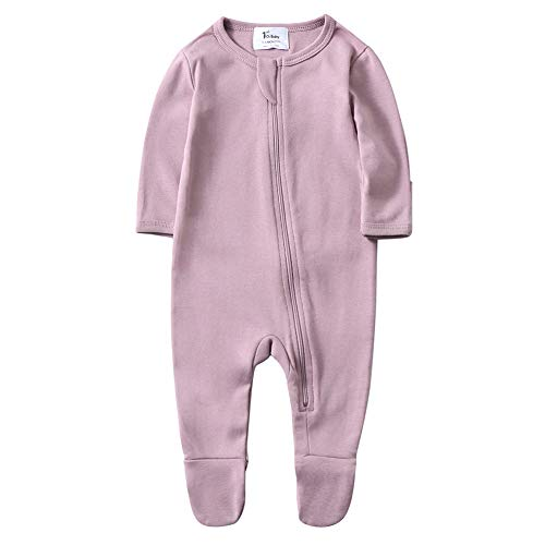 O2Baby Baby Boys Girls Organic Cotton Zip Front Sleeper Pajamas, Footed Sleep 'n Play(0-3Months,Mauve Orchid)