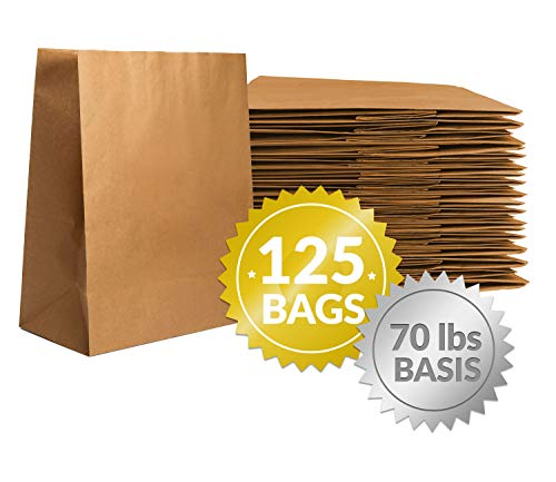 Reli. Paper Grocery Bags (125 Pcs Bulk) (12x7x17) 70 Lbs Basis, Extra Heavy Duty | Brown Paper Bag, Large Paper Grocery Bags/Kraft Paper Sacks -Takeout Bags/Restaurant, Retail, Shopping Bags