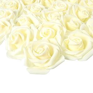 Juvale – Rosas artificiales (marfil, 3 x 1,25 x 3 pulgadas, 100 unidades)