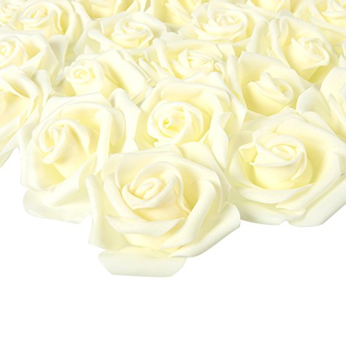 Juvale - Rosas artificiales (marfil, 3 x 1,25 x 3 pulgadas, 100 unidades)
