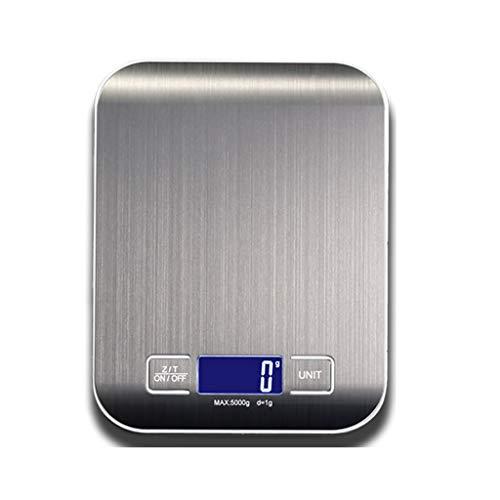 Balanza de Cocina Digital/balanza electrónica de Alimentos para el hogar/pesaje preciso/diseño de Escala de trefilado de Alambre de Acero Inoxidable 5 kg (Color : Silver)