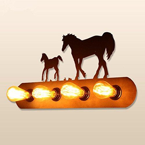 5151BuyWorld wandlamp, 4 koppen, industrial, American Retro, kinderkamer Noord-Europa, creatief, balkon, ijzer, wild Horse