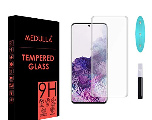 Medulla UV Tempered Glass Screen Protector for Samsung Galaxy S20 Border Less Full Coverage Edge to Edge with Installation Kit