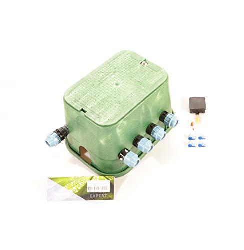 """Ventilbox EXPERT - 4 x Hunter PGV-101 MMB Magnetventil (4 Zonen), mit (1\"""") 32 mm Klemmverbindern für PE-Rohr Bewässerung Ventilschacht Ventilverteilung"""