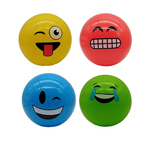 STUWU 4X Kunststoffball LUSTIGE Gesichter 22cm inkl. Ballnadel Fussball Wasserball Gymnastikball versch. Farben …