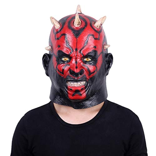 WSJDE Darth Maul Maske Halloween Maskerade Masken Party Cosplay Star Wars Wimperntusche Latex Realista Masque Teufel Horror Karneval   Rot