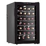 28ボトルサーモエレクトリックレッド&ホワイトワインクーラー/クーラーカウンターセラー、デジタル温度表示、独立型冷蔵庫、スモークガラスドア、サイレント操作冷蔵庫