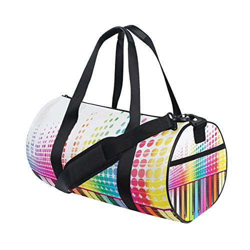 ZOMOY Sporttasche,Regenbogentasten Piano Sound Waves Lines,Neue Druckzylinder Sporttasche Fitness Taschen Reisetasche Gepäck Leinwand Handtasche