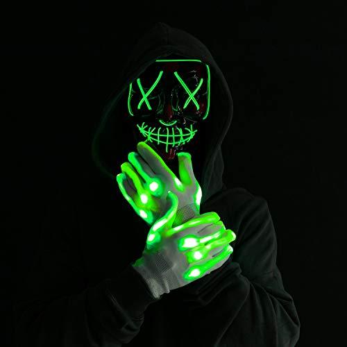 Máscara y Guantes Iluminosas Disfraz de Halloween con Luces LED 3 Modos de Iluminación para Fiestas