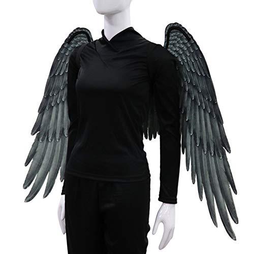 3D Schwarz Engelsflügel Weiße Fee Flügel Kostüm Halloween Party Karneval Cosplay Flügel Für Erwachsene Männer Frauen Kinder Kinder, Halloween Dekoration Requisiten (2 Größe Verfügbar)