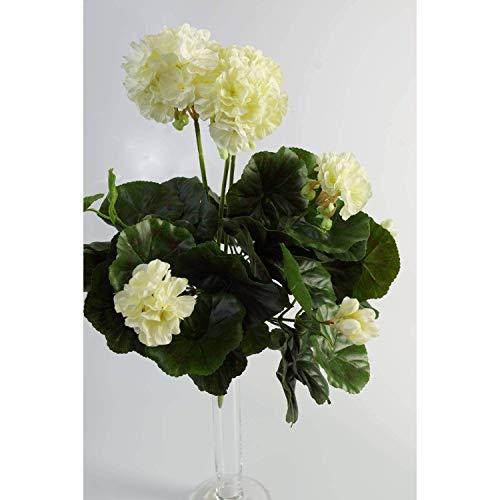 artplants.de Decorativo Geranio MIA en Vara, Blanco, 35cm, Ø 30cm - Flor Artificial - Planta sintética