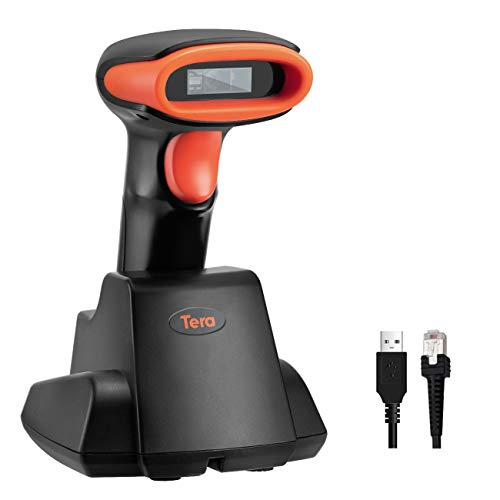 Tera Wireless Barcode Scanner 1D 2D QR with USB Charging Base Handheld Bar Code Reader Scanner Automatic Sensing Fast Precise Scanner