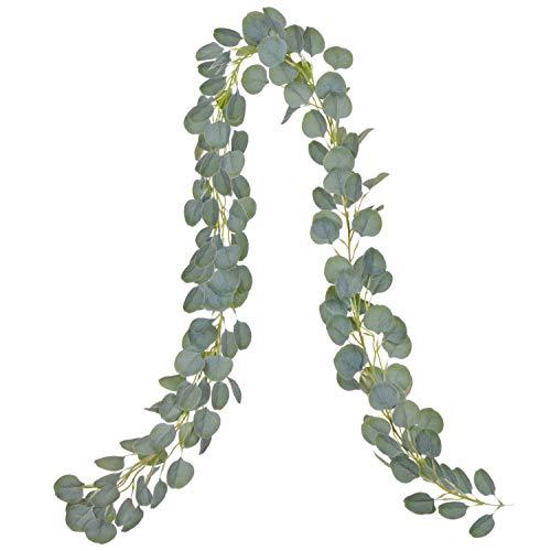 DearHouse Artificial Eucalyptus Garland Faux Silk Eucalyptus Leaves Vines Handmade Garland Greenery Wedding Backdrop Arch Wall Decor