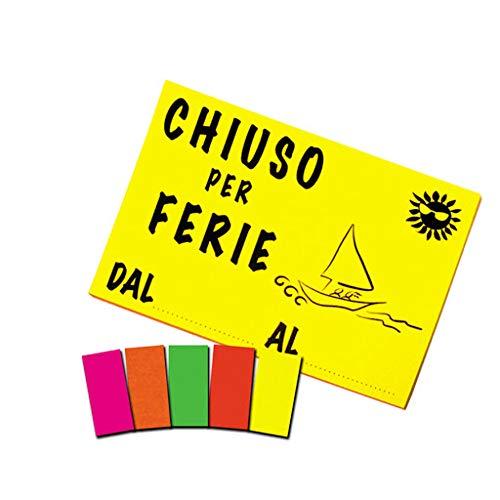 takestop Cartello Chiuso per Ferie dal al Periodo Colore Fluo Data SEGNALETICA DIREZIONALE Sicurezza Avvertimento Negozio Colore Casuale