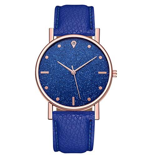 LRWEY - Reloj analógico Unisex de 38 mm con Esfera de Color Oro Rosa y Correa para San Valentín, Azul