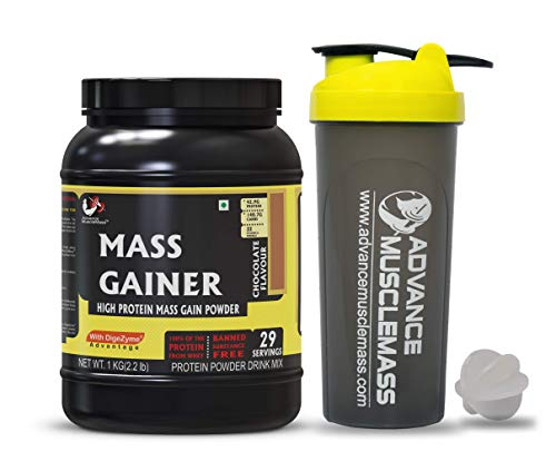 Advance MuscleMass Mass Gainer with Enzyme Blend | 7.15 G Protein | 23.46 G Carbs | Lab tested | Made from Whey Protein only | Raw Whey from USA | With Shaker | Chocolate Flavour | 1 Kg / 2.2 lb