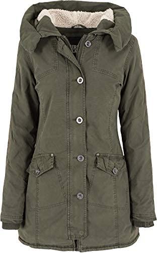 Urban Classics - Jacke Garment Washed Long Parka, Giacca Donna, Verde (Olive), Small (Taglia Produttore: Small)