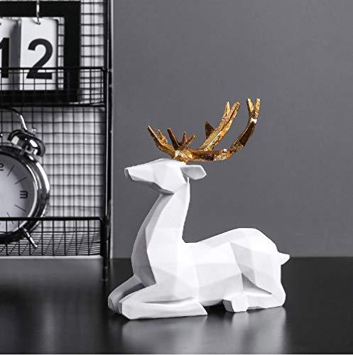 XLHH Figura decorativa de ciervo con diseño de origami, de polirresina, moderna, creativa, artesanal, color blanco