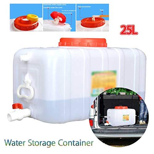 Almacenamiento de Agua para Acampada Contenedor De Agua Portátil Tanque Bidón Plástico con Grifo, 25L Tanque de Almacenamiento Agua, Seguro, Adecuado para Coches de Viaje Recipiente de Almacenamiento