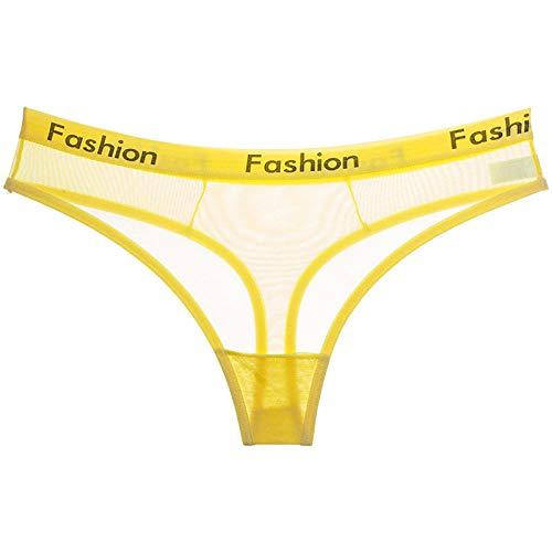 Tanga amarillo transparente para mujer