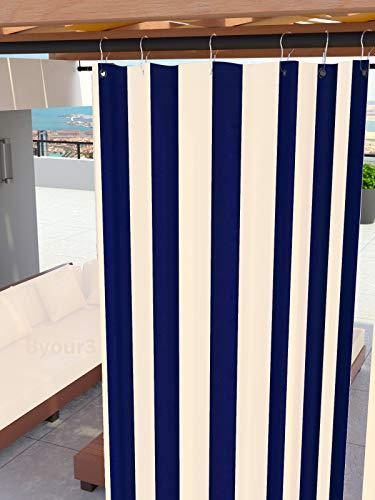 Tende Da Sole per Esterno Con Anelli a Caduta Su Misura MADE IN ITALY Stoffa Tessuto Impermeabile Antimuffa TELi Parasole Laterali Gazebo Balconi Terrazzo Veranda Camper (Righe Blu, L.140 x 290h)