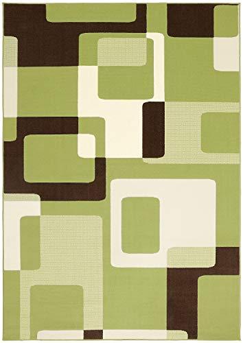 Bavaria Home Style Collection Designer Teppich Wohnzimmer Teppiche Retro Look Stil Design 70 er Jahre Optik blau grün braun schwarz 160 x 230 cm (grün)