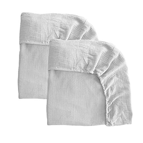 Pack 2 sábanas bajeras para moisés o capazo de Cochecito, sábanas Ajustables de Muselina Recambio Bajera Carrito bebé. Vestiduras moisés. Mimuselina (Blanco-Blanco)
