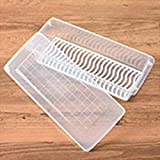 Contenedor de almacenamiento de alimentos con tapa rectangular para frigoríficos con bandeja de drenaje portátil apilable (5 unidades) A