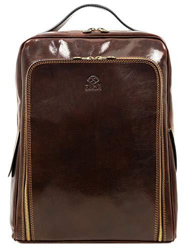 Leder Rucksack Damen und Herren Handgemachter Laptop Rucksack für den Täglichen Gebrauch im Vintage Design Rucksack Klein Laptopgröße bis zu 33 Zentimeter Dunkelbraun - Time Resistance