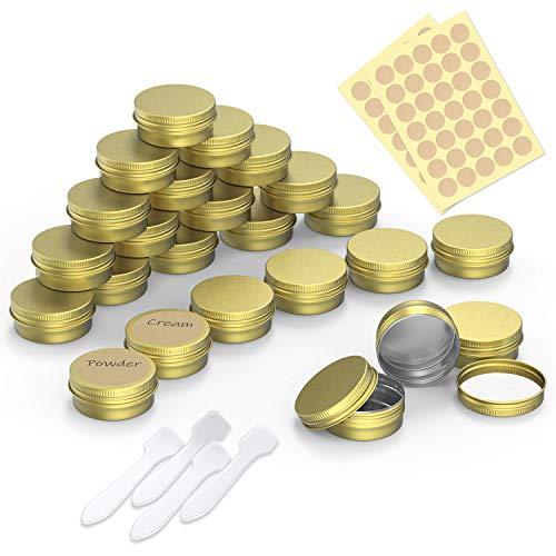 PAMIYO 24 Stücke Aluminium Leer Döschen, 20ml Set Aluminium Leer Döschen, Leere Dosen mit Schraubdeckel für lippenbalsam, Lotion, Creme, Masken, Mini-Kerzen, Kosmetik(Gold)