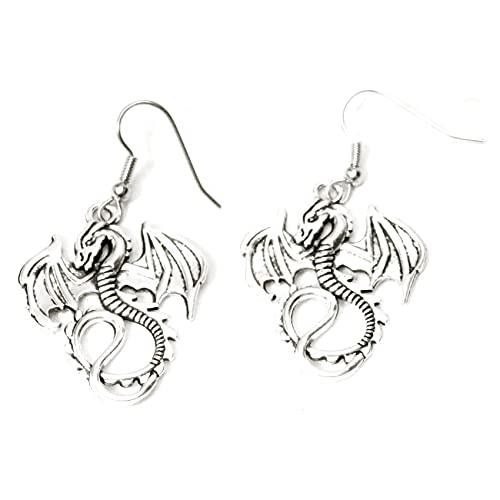 Winged Flying Silvertone Dragon Earrings Custom 420