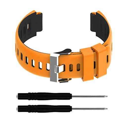 zhibeisai Reloj de Deportes de la Correa de la Correa de Banda de Correa de Reloj Compatible con Forerunner 220/230/235/620/630 / 735xt, Naranja Negro