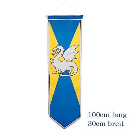 Amakando Fahne mit Wappen - gelb-blau - Ritterwappen mit Drachen Wappenbanner Kindergeburtstag Flagge Mottoparty Deko Rittergeburtstag Ritterwappen mit Drachen