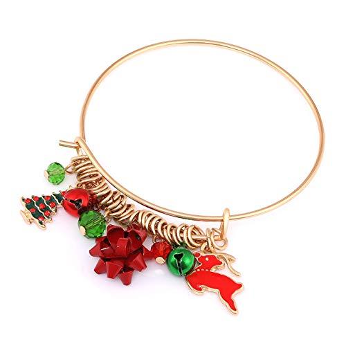 Seni Jewelry Christmas Charm Bracelet Reindeer Tree Bells Bangle Holiday Bracelets for Women Kids Xmas Gift (Gold-Tree)