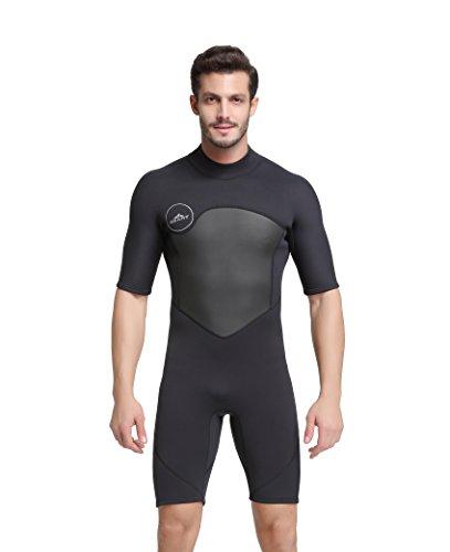 Unisex Short Sleeve 2MM Neoprene Wetsuit Men for Surfing One Piece Triathlon Scuba Diving Spearfishing Wetsuit Women Surfing (1069Black, XL)