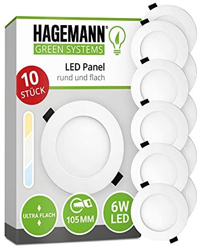 HAGEMANN® 10 x LED Panel rund 6 Watt 570lm – Ø 105mm Bohrloch – 230V Deckenspot LED flach