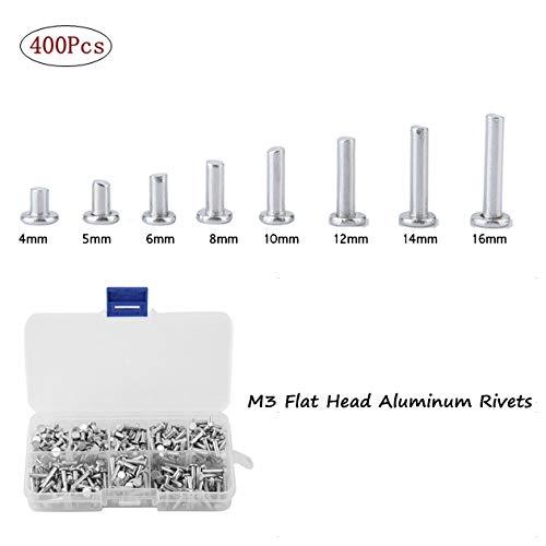 M3 platte kop volledig niet, 400 stuks M3 4 mm-16 mm platte kop-aluminium klinknagels platte kop volledig aluminium niet