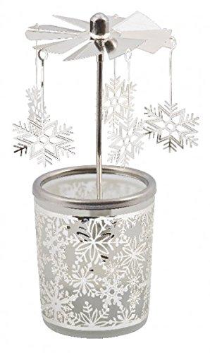 MaMeMi Windlicht, Glas, Karussell, Schneeflocke, Höhe 15 cm
