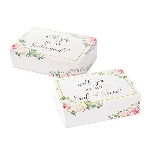 Bridesmaid Proposal Box Set {10 Pack} 1 Maid of Honor Proposal Box and 9 Will You be My Bridesmaid Boxes I Floral Bridesmaid Box for Bridesmaid Gifts