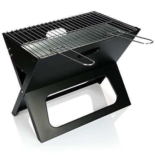 com-four® Grill - Klappbarer Holzkohlegrill - Klappgrill mit Grillrost und Kohleschale - Tragbar für Strand, Picknick, Camping und Balkon