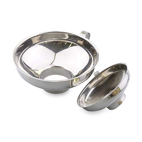Einmachtrichter, 2 Stück, Edelstahl, breite Öffnung, zum Umfüllen von flüssigem Öl-Pulver, Bohnen und Marmelade, Silber (klein und groß)