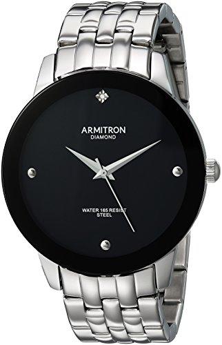 Armitron Men's Diamond Accented Silver-Tone Bracelet Watch