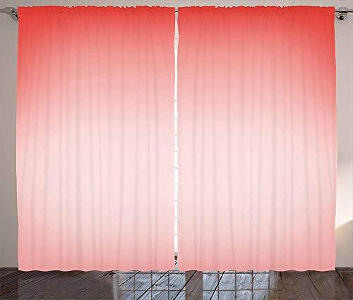 MZCYL Cortinas Aislamiento térmico Cortina OpacaOpaca Cortinas Cortinas con Ojal Dormitorioe Cortina Blackout140x183cm Color melocotón con arte abstracto de color femenino de ensueño Textiles Poliéste