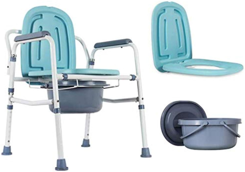 Ltere Toiletten-Portable Falten einfach zu bewegen mobile Toilette Stool Pregnant Woman Stuhl Height Adjustable,A