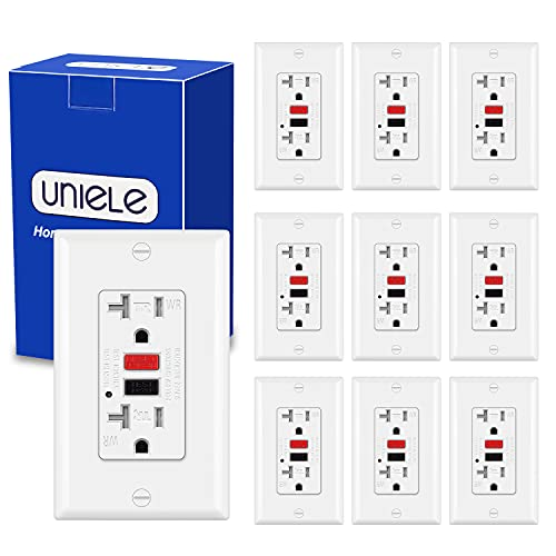(10 Pack) UNIELE 20 Amp GFCI Receptacle Outlet, Outdoor Weather-Resistant (WR) and Tamper-Resistant (TR) GFI Outlet with Wallplate, Ground Fault Circuit Interrupter, 20A/125V, ETL Listed