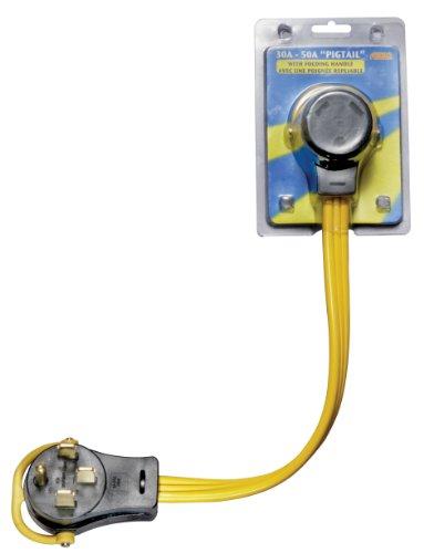 Arcon 14368Generador Pigtail Cable de alimentación 30-amp hembra a 50-Amp macho 45,72cm alambre plano