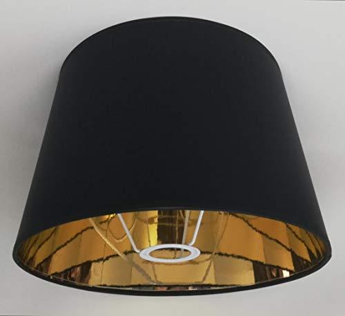 30 cm Schwarzer Stoff Lampenschirm mit Goldfutter Handgemacht für Tisch, Stehlampe