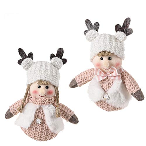 ABOOFAN 2Pcs Weihnachten Gestrickte Puppe Polyester Stoffe Geweih Hut Weihnachten Baum Hängende Puppe Requisiten für Kinder Urlaub Party Home Dekoration (Rosa)